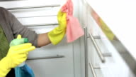 HD: Young Woman Cleaning The Kitchen video