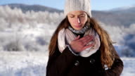 Young Woman Coughing Flu Winter Sick Concept video