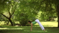 Young woman doing yoga exercise video