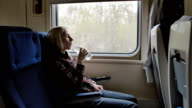 Young woman drink water while traveling by train video