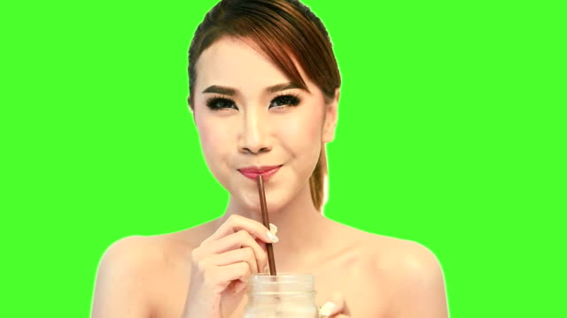 Young woman drinking coffee. video