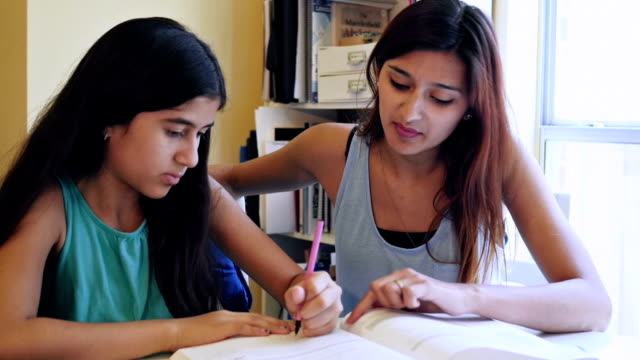 Young woman encouraging little sister while she tutors her while studying video