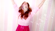 Young Woman Enjoying Bubbles Around Her video