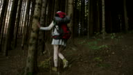 Young woman exploring the forest video