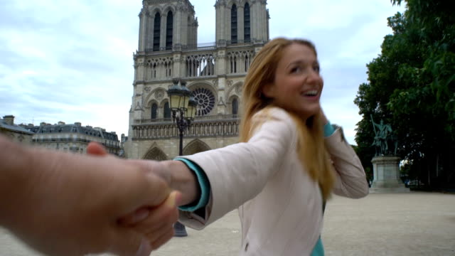 Young Woman Follow Me Notre Dame Cathedral Paris video