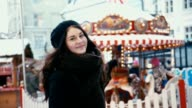 Young Woman having Fun at Christmas Market video