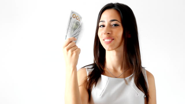 Young woman holding money video