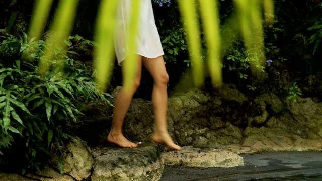 Young woman in a tropical forest video