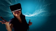 Young woman in digital tunnel. Exploring virtual reality video