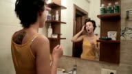 Young woman in the bathroom video