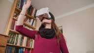 Young Woman in Virtual Reality Glasses video