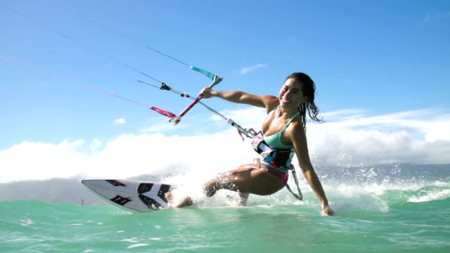 Young Woman Kitesurfing In Ocean, Extreme Summer Sport video