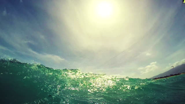 Young Woman Kitesurfing in Ocean in Bikini. POV GOPRO Slow Motion. Summer Fun Extreme Sports. video