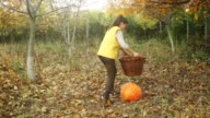 Young woman lifting a pumpkin in the basket. video