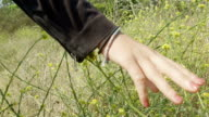 A young woman moves her hand across wild flowers in slow motion. video