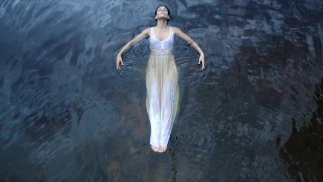Young Woman On The Water Surface video