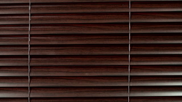 Young woman opens slats of dark Venetian blind and peeps through, looking left, then right, then to camera, getting startled and then smiling. video