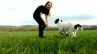 Young woman playing with puppy on field video