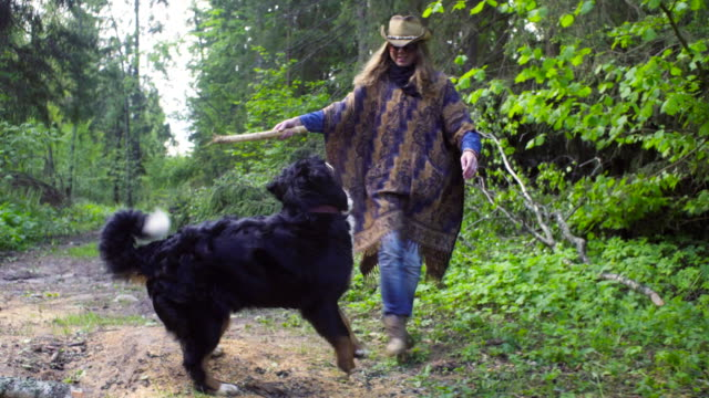 Young woman playing with the dog in the forest video