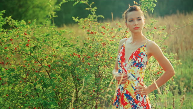 Young woman posing in countryside video
