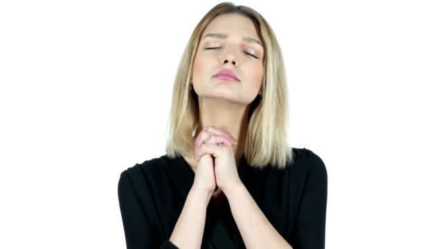 Young Woman praying , Asking forgiveness, White Background video