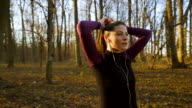 Young woman preparing for jogging. video