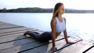 Young woman relaxing meditating video