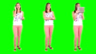 Young woman spinning. Casual. Chroma key. 3 in 1. Technology. video