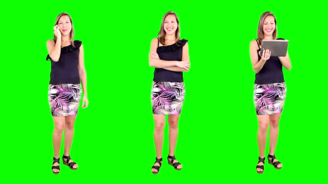 Young woman spinning. Casual. Chroma key. 3 in 1. video