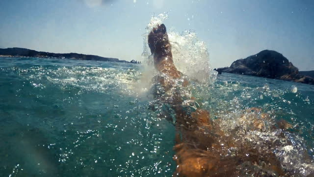 Young woman splashing water with her legs video