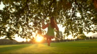 HD SLOW MOTION: Young Woman Swinging At Sunset video
