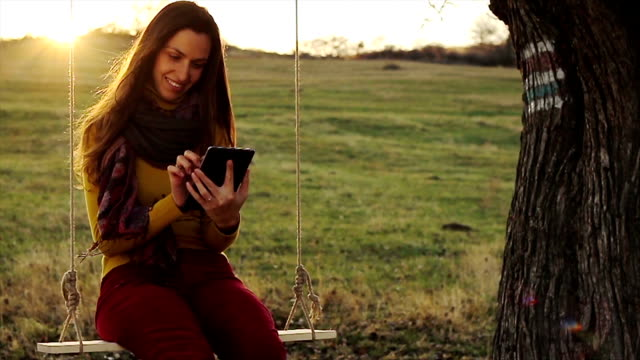 Young Woman Tablet Outdoors Nature Technology video