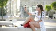 Young woman take a selfie video