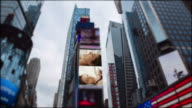 Young woman Time Square New York City Manhattan Timelapse video