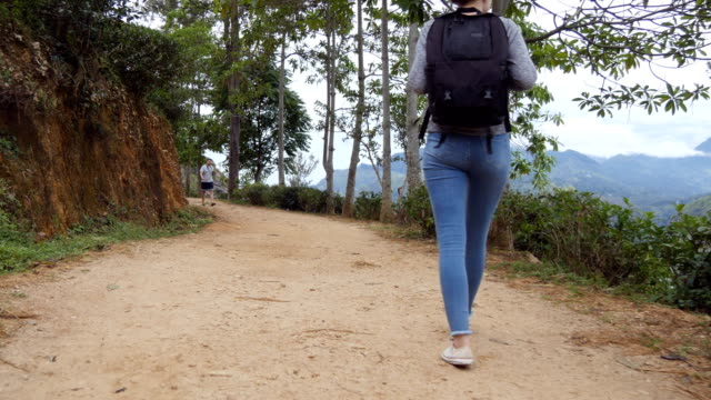 Young woman tourist with backpack walking at trail in mountains with beautiful nature landscape at background. Female hiker going along tropical mount road. Healthy active lifestyle. Rear back view video