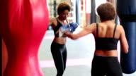 Young woman training at boxing in gym video