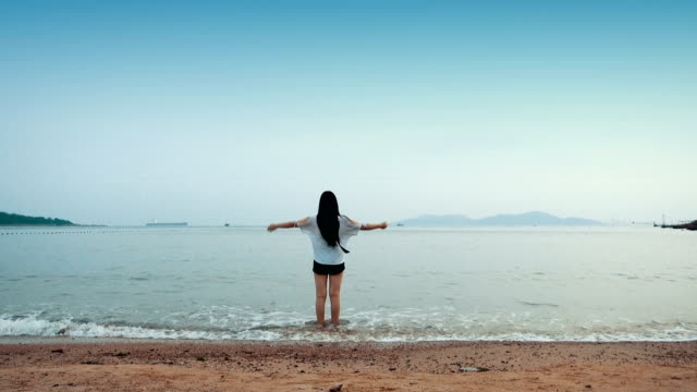 Young woman walking alone on the beach video