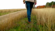 Young Woman Walking At Nature In Autumn video