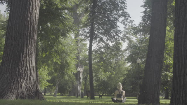 A young woman walking barefoot on the grass video