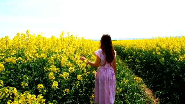 Young Woman Walking Down Path Yellow Flowers Spring Field HD video