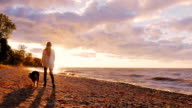 Young woman walking with a dog on the shore of Lake Ontario at sunset video