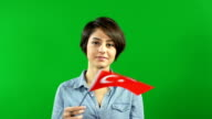 Young woman waving the Turkey flag on Green Screen background video