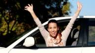 Young woman waving video