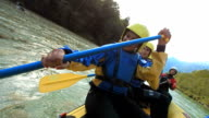 HD SLOW MOTION: Young Woman Whitewater Rafting video