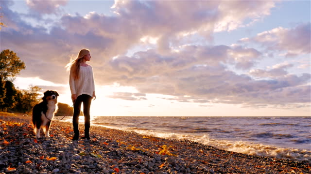 Young woman with a dog standing next to the shore of a lake or the sea. At sunset, looking into the distance, dreaming video