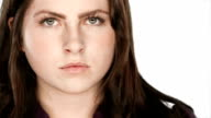 Young woman with an unhappy expression video