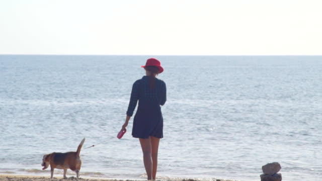 Young Woman with dog on the beach slow motion video
