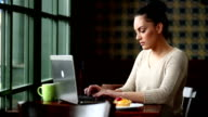 Young Woman With Laptop In Cafe video
