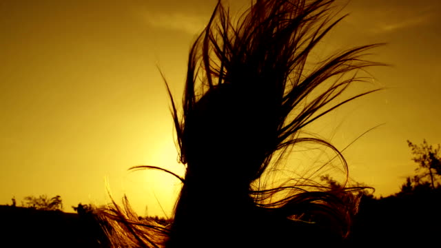 SLOW MOTION: young woman with long hair running at sunset video