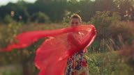 Young woman with red shawl video
